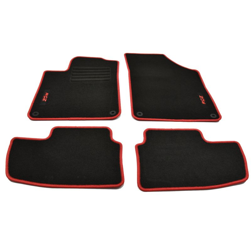 ab 4.10 Fußmatten Velours schwarz mit Rand weiss Peugeot  RCZ  Bj