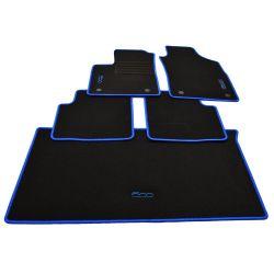 500 C ab Bj.2013 Velours Fußmatten Kofferraum Set Edition weiss für Fiat 500
